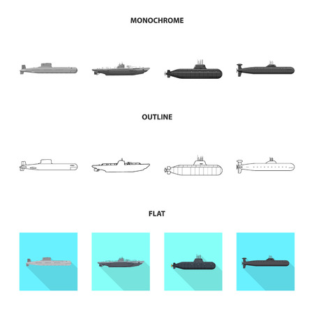 Isolated object of war  and ship symbol. Collection of war  and fleet stock vector illustration. Ilustracja