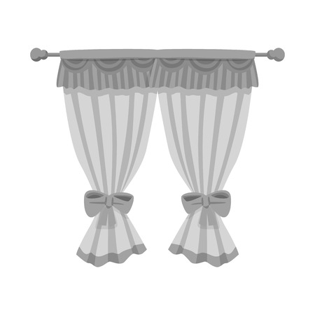 Vector illustration of curtain and window logo. Collection of curtain and jalousie stock symbol for web. Ilustração