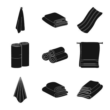 Vektordesign der Textil- und Haushaltsikone. Satz Textil- und Strandvorrat-Vektorillustration.