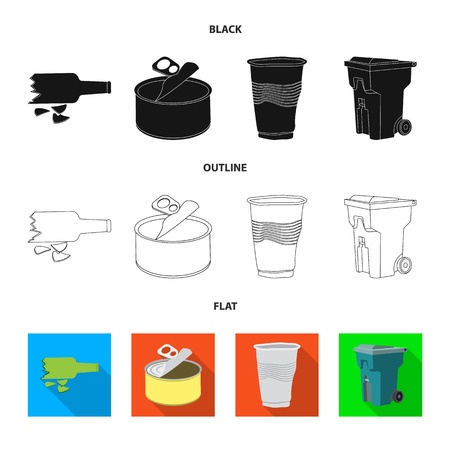 Vector illustration of dump and sort sign. Collection of dump and junk stock symbol for web.
