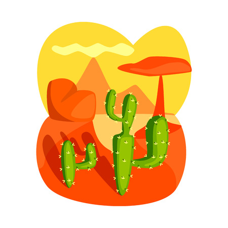 Vector illustration of landscape and cactus sign. Set of landscape and rock vector icon for stock.