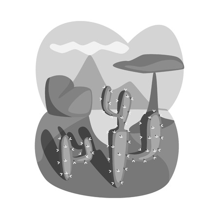 Isolated object of landscape and cactus icon. Collection of landscape and rock stock symbol for web.
