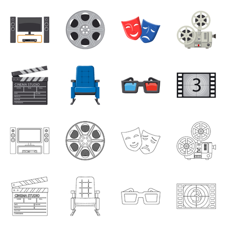 Vector illustration of television and filming symbol. Set of television and viewing vector icon for stock.