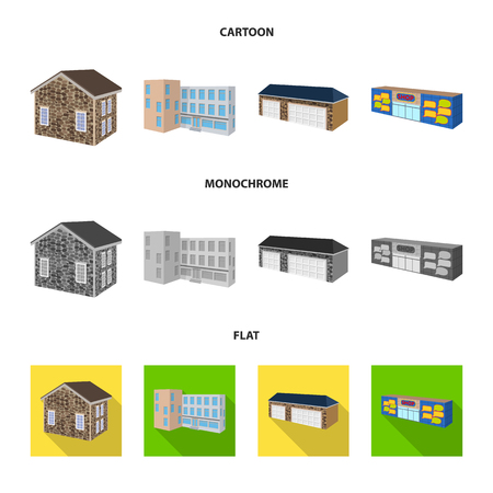 Vector design of facade and housing sign. Collection of facade and infrastructure vector icon for stock. 矢量图像