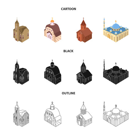 Isolated object of temple and historic symbol. Set of temple and faith vector icon for stock.