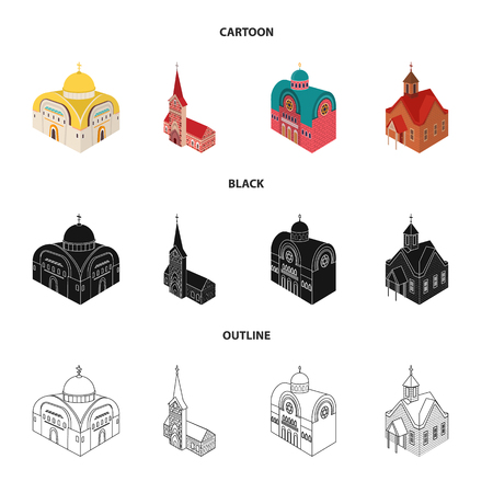 Isolated object of temple and historic icon. Set of temple and faith stock vector illustration. 矢量图像