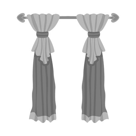 Vector design of curtain and cornices logo. Set of curtain and jalousie stock vector illustration. Ilustração