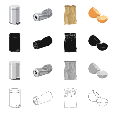 Isolated object of dump  and sort sign. Collection of dump  and junk stock vector illustration. Vettoriali