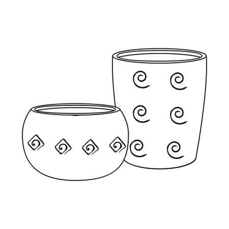 Isolated object of ancient and pitcher sign. Collection of ancient and utensil stock symbol for web.