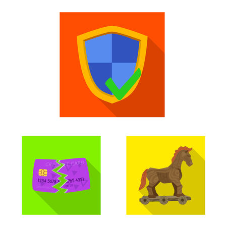Vector design of virus and secure symbol. Collection of virus and cyber vector icon for stock.