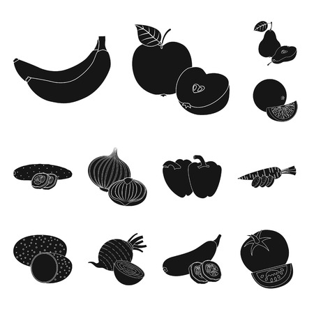 Isolated object of vegetable and fruit logo. Collection of vegetable and vegetarian vector icon for stock. Ilustracja