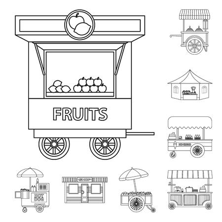 Ilustración de vector de mercado y logotipo exterior. Conjunto de símbolo de stock de mercado y alimentos para web. Logos