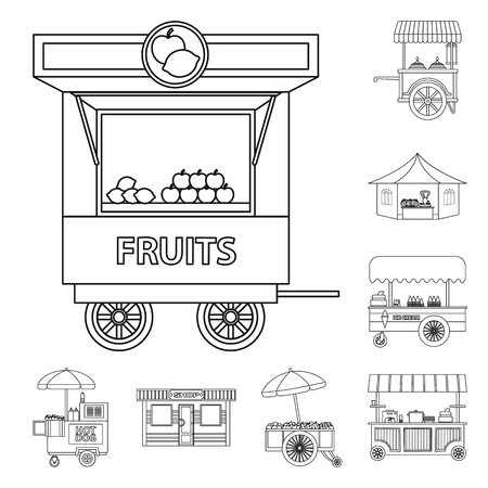 Vector illustration of market and exterior logo. Set of market and food stock symbol for web. Logo