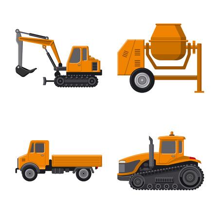 Objet isolé du logo de construction et de construction. Collection d'illustration vectorielle de construction et de machines. Logo