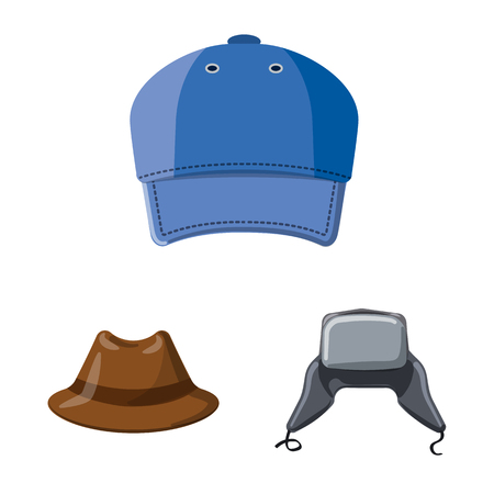 Isolated object of headgear and cap symbol. Set of headgear and accessory stock symbol for web. Vektorové ilustrace
