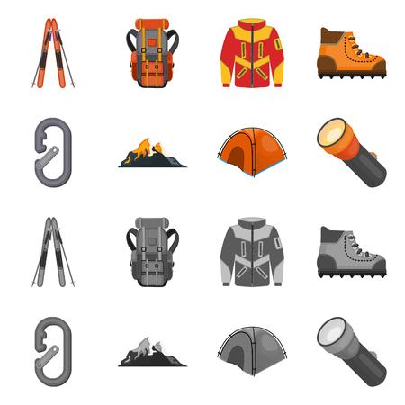Vector illustration of mountaineering and peak logo. Set of mountaineering and camp vector icon for stock. Logó