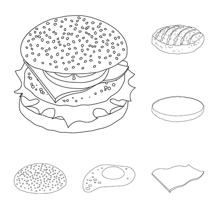 Isolated object of burger and sandwich icon. Collection of burger and slice stock symbol for web.