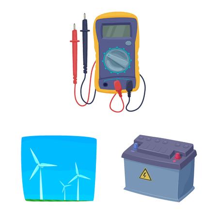 Illustrazione vettoriale di elettricità e icona elettrica. Set di elettricità ed energia icona vettore per il magazzino. Vettoriali