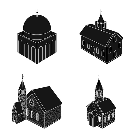 Isolated object of parish and faith icon. Set of parish and building vector icon for stock.