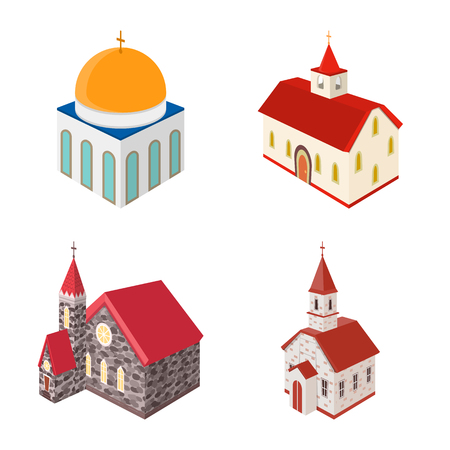 Vector illustration of architecture and building symbol. Collection of architecture and clergy vector icon for stock.