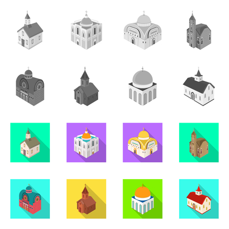 Isolated object of temple and historic symbol. Set of temple and faith vector icon for stock. 矢量图像