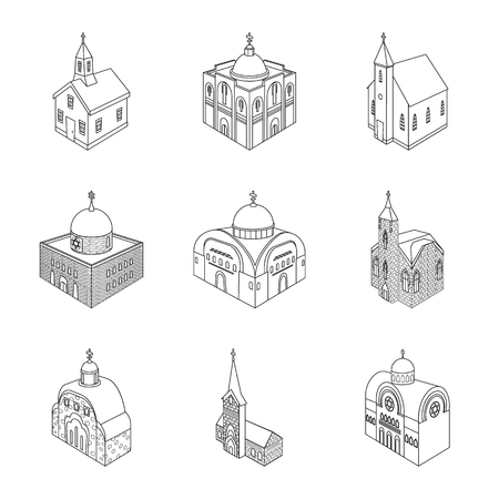 Vector design of architecture and building icon. Collection of architecture and clergy stock vector illustration. Vektorové ilustrace