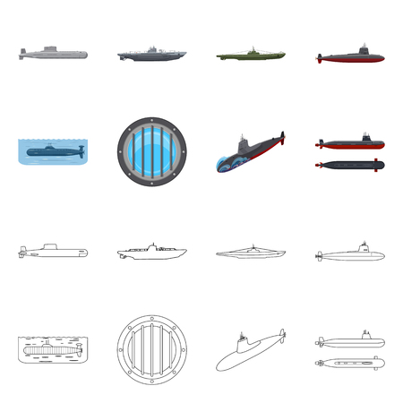 Isolated object of war  and ship sign. Collection of war  and fleet stock symbol for web. Vectores