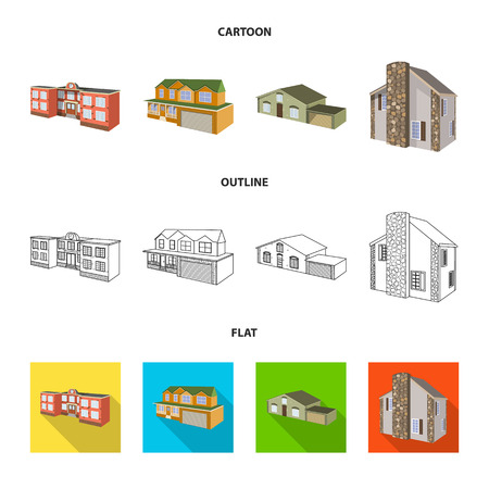 Vector illustration of facade and housing logo. Set of facade and infrastructure vector icon for stock.