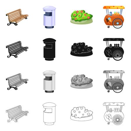 Vektor-Illustration der Stadt- und Straßenikone. Satz von Stadt- und Entspannungsvektorsymbolen für Lager. Vektorgrafik