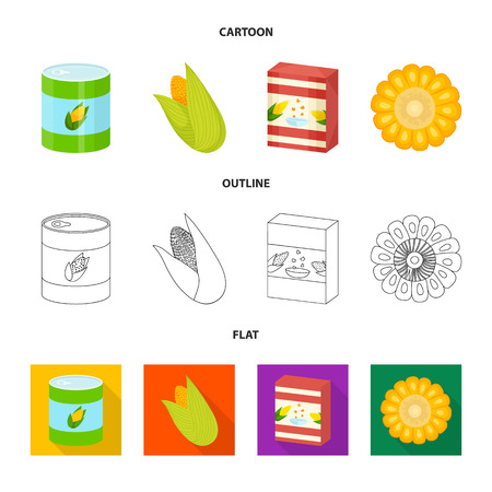 Vector design of cornfield and vegetable logo. Set of cornfield and vegetarian vector icon for stock. 矢量图像