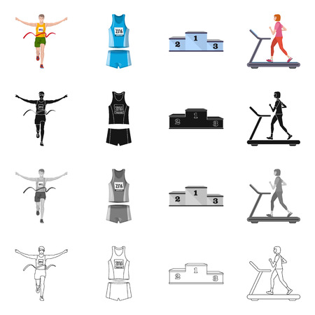 Isolated object of sport and winner icon. Collection of sport and fitness vector icon for stock. Vector Illustratie