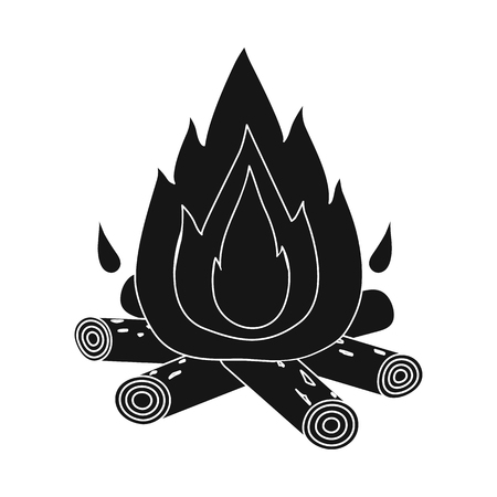 Vector illustration of bonfire and fire icon. Set of bonfire and flame vector icon for stock.