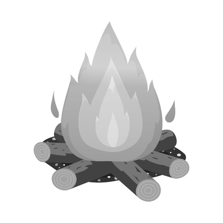 Isolated object of bonfire and fire icon. Collection of bonfire and flame stock vector illustration.
