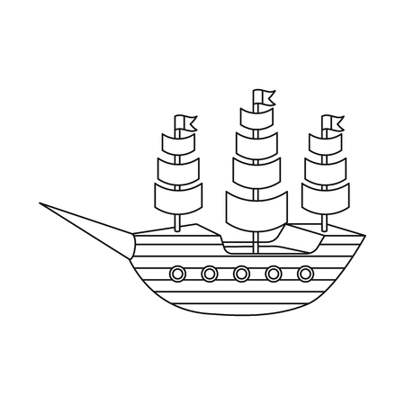 Isolated object of ship and sailboat sign. Set of ship and ship stock symbol for web.  イラスト・ベクター素材