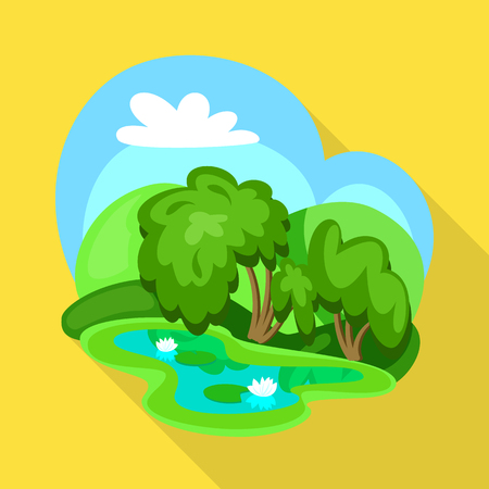 Vector design of wetland and grass symbol. Collection of wetland and green stock vector illustration.