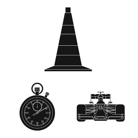 Vector illustration of car and rally sign. Set of car and race vector icon for stock. Ilustrace
