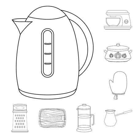 Vector illustration of kitchen and cook logo. Collection of kitchen and appliance stock vector illustration.