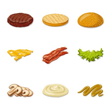 Ilustracja wektorowa symbolu burgera i kanapki. Zestaw burger i kromka symbol giełdowy dla sieci web.