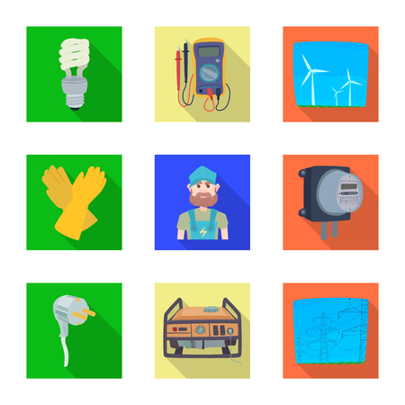 Vector illustration of electricity and electric icon. Collection of electricity and energy stock vector illustration. Illustration
