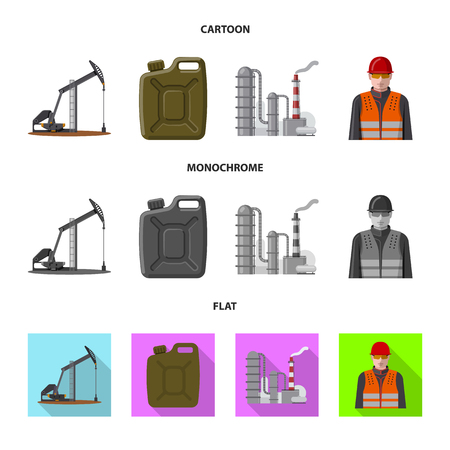 Vector design of oil and gas logo. Set of oil and petrol stock vector illustration.