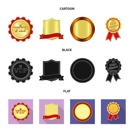 Geïsoleerde object van embleem en kentekensymbool. Verzameling van embleem en sticker vector pictogram voor voorraad. Vector Illustratie