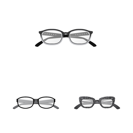Isolated object of glasses and frame icon. Set of glasses and accessory stock vector illustration. Иллюстрация