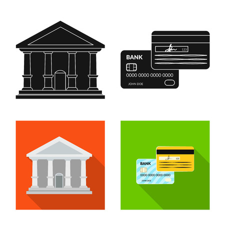 Vector illustration of bank and money logo. Set of bank and bill stock vector illustration. Иллюстрация