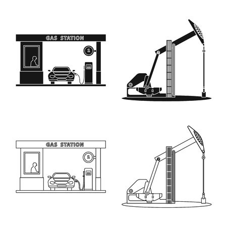Isolated object of oil and gas sign. Collection of oil and petrol stock symbol for web. Illustration