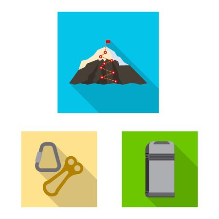 Vector illustration of mountaineering and peak logo. Set of mountaineering and camp stock vector illustration.