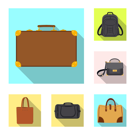 Vector design of suitcase and baggage sign. Collection of suitcase and journey stock symbol for web.