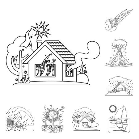 Conception de vecteur de signe de catastrophe naturelle et de catastrophe. Collection de symbole boursier naturel et à risque pour le web.