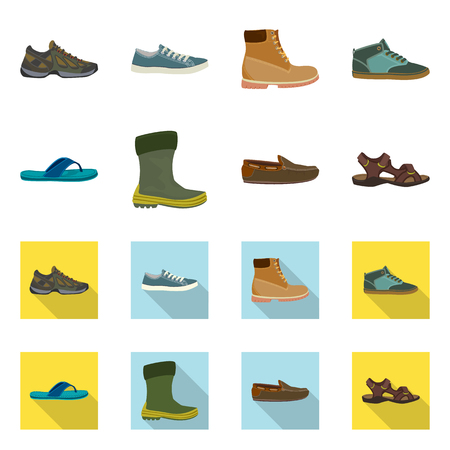 Vector illustration of shoe and footwear sign. Collection of shoe and foot vector icon for stock. Vetores