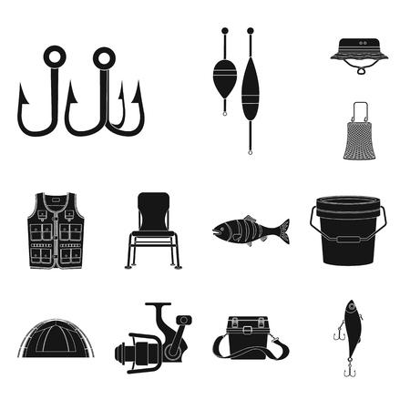 Objet isolé du logo de poisson et de pêche. Ensemble d'illustrations vectorielles stock poisson et équipement.