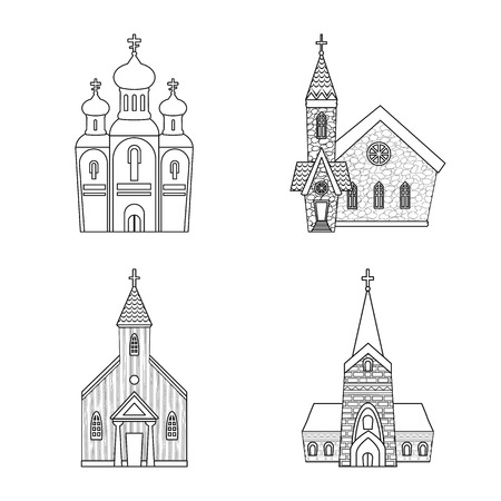 Vector illustration of architecture and faith symbol. Set of architecture and temple stock vector illustration.